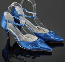 Personalizzato handmade zapatos scarpe donna spedizione gratuita blu del partito del raso scarpe per la cerimonia nuziale(China (Mainland))
