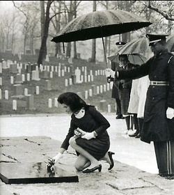 """Jackie tends to JFK's grave at Arlington National Cemetery...""""Oh, Jack, there's only one thing I could not bear now—if I ever lost you.""""  ~ Jackie Kennedy to JFK after the death of their two-day old son, Patrick in August 1963."""