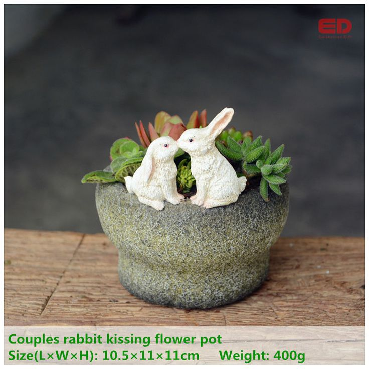 ED original quality design fairy garden terrarium bunny rabbits kissing on functional stone flowerpot for succulents outdoor