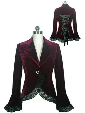 Burgundy Gothic Lace Trim Corset Velvet Jacket - Anomalie Clothing - Victorian Gothic - Alternative Fashion - Romantic Style
