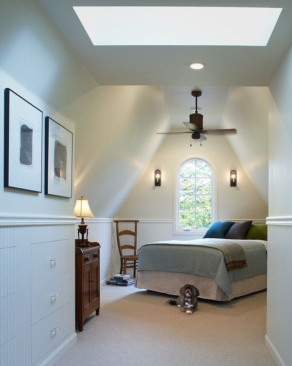 Small Attic Bedroom Ideas. Beautiful.   Ooh Corner Bed, Shelf Behind With  Lamp