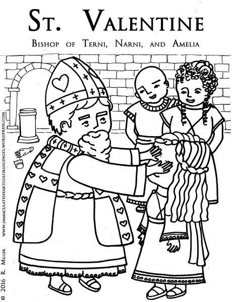 Saint Valentine Bishop Of Terni Coloring Page Valentines Day