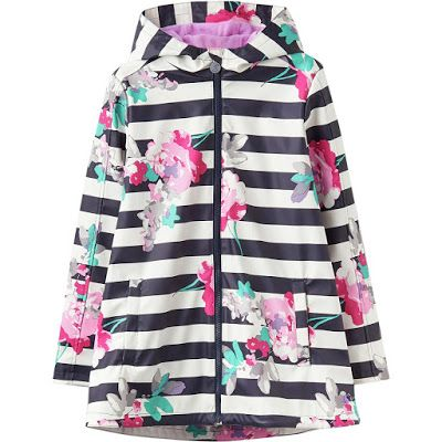 The Joules rain dance jacket for girls is stylish rain coat with its cute and colorful patterns.  Fully sealed rubberized fabric creates durable waterproof protection.