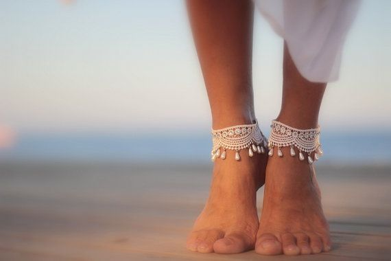 White droplets wrapped in guipure beach wedding barefoot by FULYAK