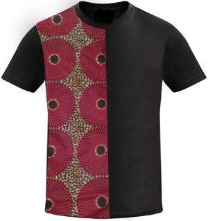 Men's White T-shirt With Ankara Fabric