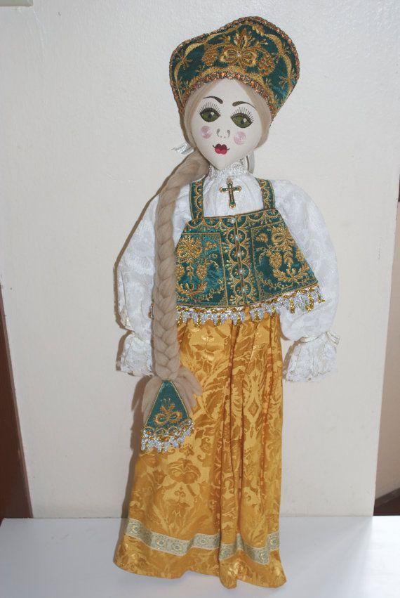 "Alexandra Koukinova Russian Cloth Doll Handmade 24""  Women's Festive Clothing"