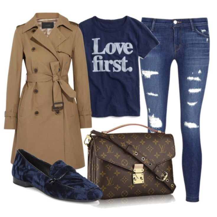 A fun Winter Trench Coat Outfit with distressed denim and velvet loafer with a graphic tee -simple easy casual style for the fall and winter seasons #winteroutfit #trenchcoat #casualstyle