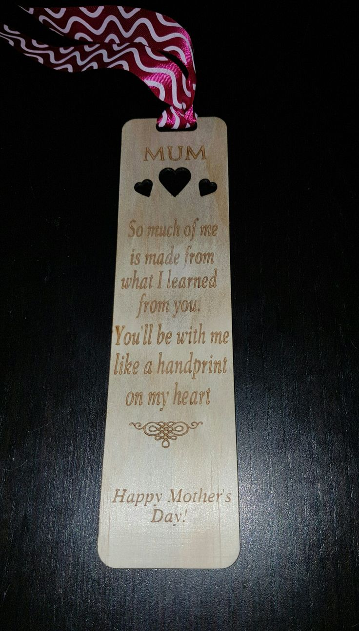Mother's Day bookmark made from plywood