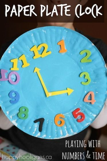 Make a cheery paper plate clock for the classroom or playroom. Fun and easy, and a great way to work on number recognition, ordering and telling time.