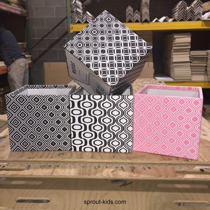 Good Black And White Modern Wave Pattern Cardboard Cube Storage Bin 6 Pack