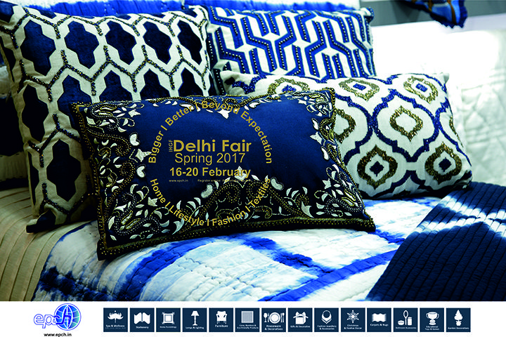 Elegant, rich and sophisticated themes in artistically embellished royal blue & indigo #hometextiles…source these and more at #IHGF Delhi Fair-Spring 2017