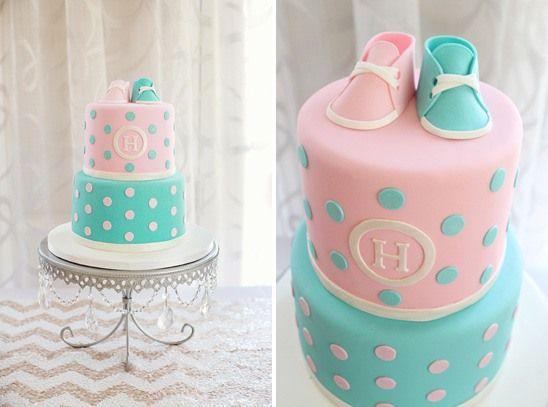 bolo rosa azul chá bebê