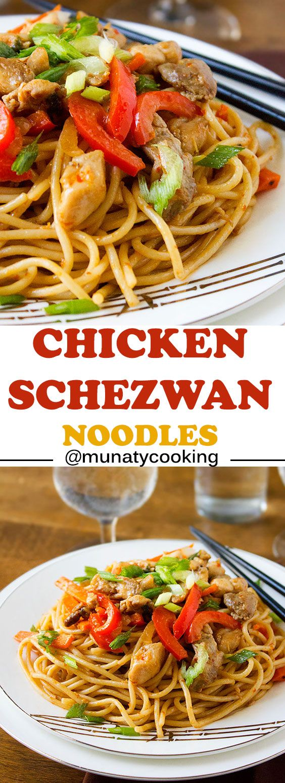 Chicken Schezwan Noodles. A delicious Indo Chinese dish. Excellent as a quick dinner, making it takes few minutes. Enjoy Tender chicken with vegetables and fiery red chili sauce. www.munatycooking.com | @munatycooking.