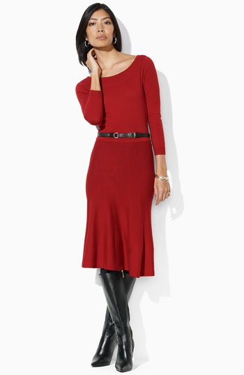 Love the neckline, sleeve length and the flirty skirt - can I wear red?  Yes, I think I can!  #Flirty Skirt #Red Dress