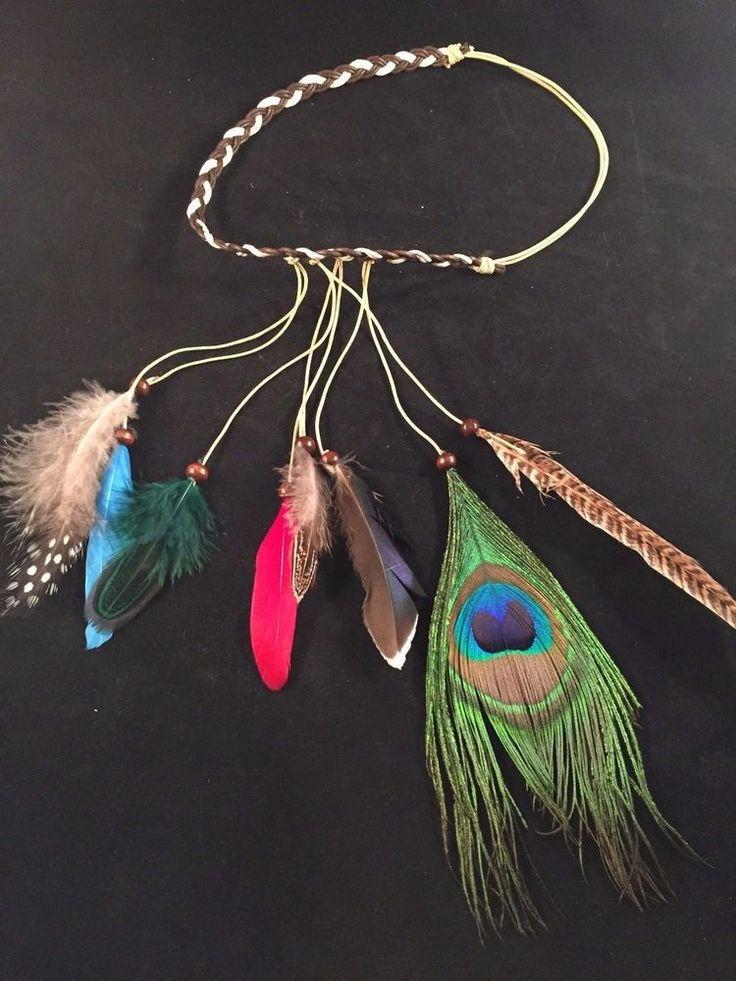 Tribal Peacock Feather Headband Native American Hair Rope Gypsy Headpiece #Handmade #NativeAmericanIndian