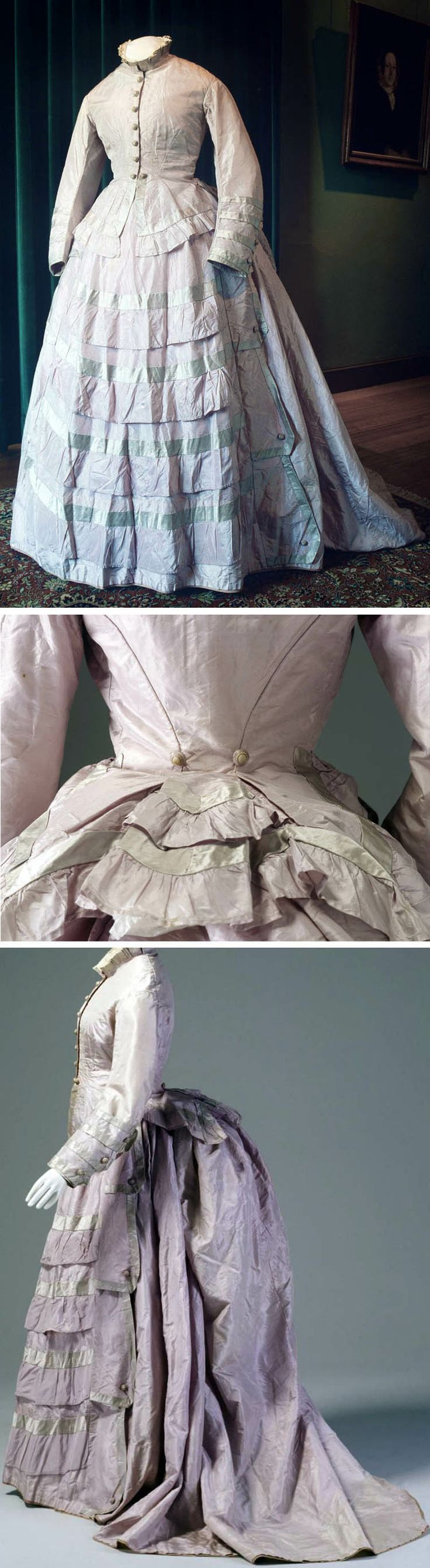 Afternoon dress, Australian, ca. 1876. Bodice and bustle skirt in mauve silk taffeta, trimmed with lengths of lavender satin. Powerhouse Museum