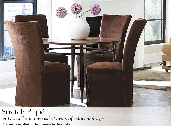 Stretch Pique Long Dining Chair Covers In Chocolate To Instantly Restyle The Room