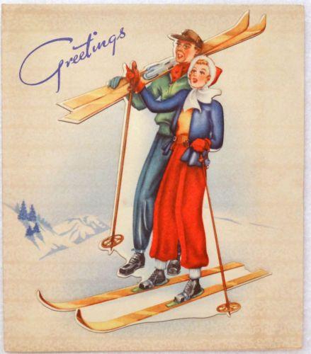#636 40s Cardboard Overlay Snow Skiing Couple- Vintage Christmas Greeting Card