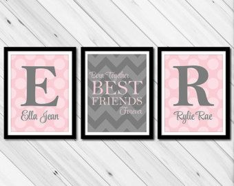 Twin baby girls wall art | twin baby gifts | chevron sisters nursery decor wall art | polkadots pink gray nursery | kids canvas art prints