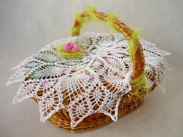 crochet napkin on Easter basket  from MariArt by DaWanda.com Round napkin hand-made on crochet. #Easter #Easterbasket #MariAndAnnieArt #Wielkanoc #koszyk
