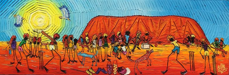 """Cricket at Uluru"" acrylic on canvas size 40cmx120cm artist Ray Reeves"