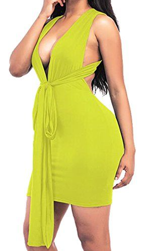 af5fec54ef Oberora-Women Stylish Deep V-Neck Backless Bandage Solid Club Cocktail  Bodycon Dress Yellow S