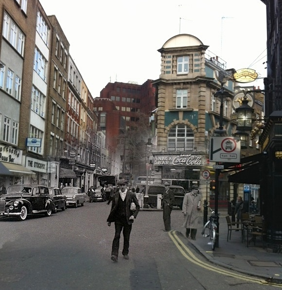 Old Compton Street, Soho 1955/2012. The snack bar is now Ed's Diner.