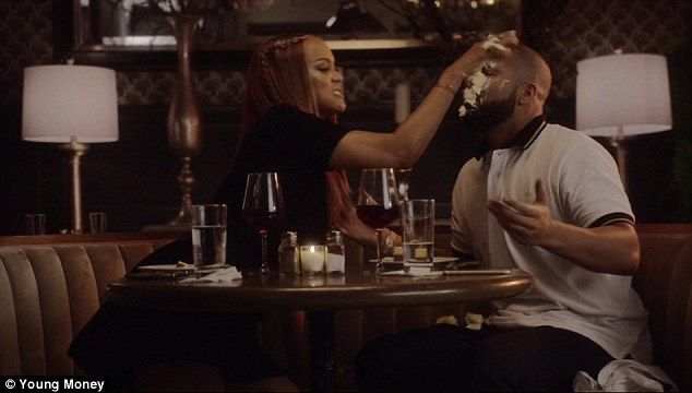 She's had enough! Tyra Banks smashes cheesecake into Drake's face in new video for single Child's Play