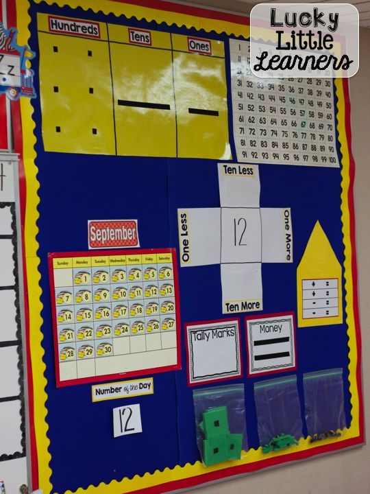 Recreate this math calendar bulletin board.  Great for teaching number sense and place value.