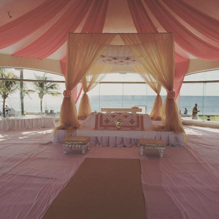 Sikh wedding setup done this morning  Coral and gold draping. #cancun #mexico#palaceresorts #palmtrees #weddingspecialist #beachwedding #tgif #bride #indianbrides #hinduweddings #punjabiwedding #punjabiweddings #destinationweddings #shaadi #groom #beachpalace #indianbrides #indiandestinationwedding  #bluepetalweddings #party #indianwedding #hinduweddings #punjabiwedding #punjabiweddings #shaadi #bollywood #destinationweddings #bluepetal  #indianweddingplanner #indiandestinatonwedding…