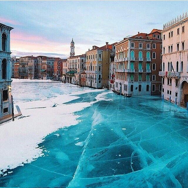 #Venice built on more than 100 small islands in a marshy lagoon in the Adriatic Sea. There are no cars or roadways, just canals and boats. The Grand Canal freezes during winter season.