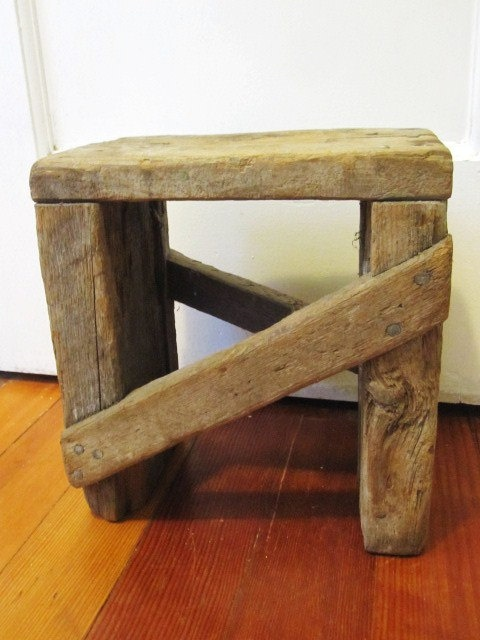 Mini Primitive Old Wooden Stool By Vintagemementos On Etsy