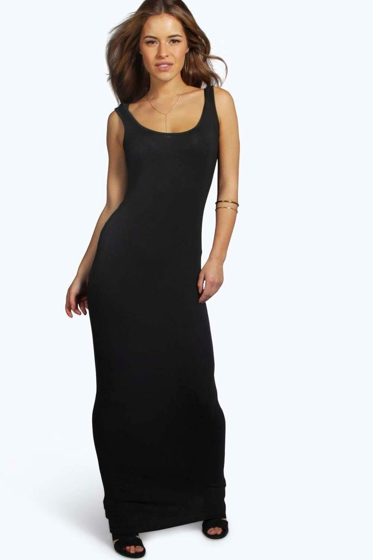 Petite Sandy Scoop Neck Maxi Dress at boohoo.com