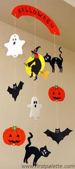 Halloween Mobile  #halloween #diy #confessionsofcraftywitches  Have fun coloring these cute Halloween characters and string them together to make a stunning mobile