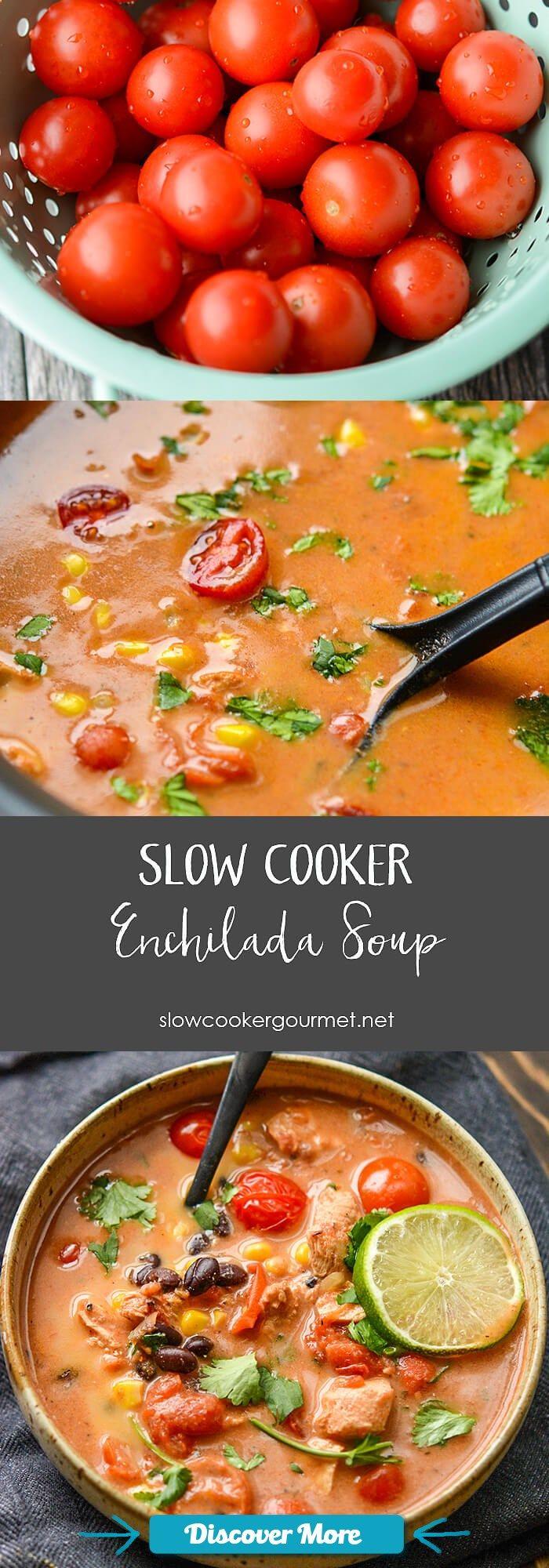 Slow Cooker Chicken Enchilada Soup #slowcooker #slowcook #slowcookerrecipes #slowcookerchicken