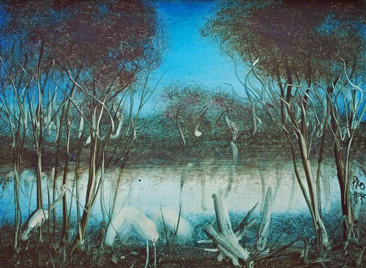 Pro Hart - 'Water Birds' - was one of Australia's most iconic artists - a beautiful serene painting.