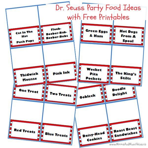 Dr. Seuss Food Ideas plus Free Printable Food Tents #DrSeuss