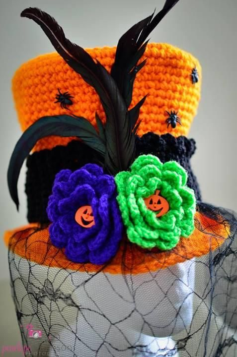 "From fan Penelope Robinson: ""Halloween Top Hat: This is my 1st hat project and I it! Thanks Red Heart for the wonderful pattern & thanks to Mikey @The Crochet Crowd for being such an excellent teacher."