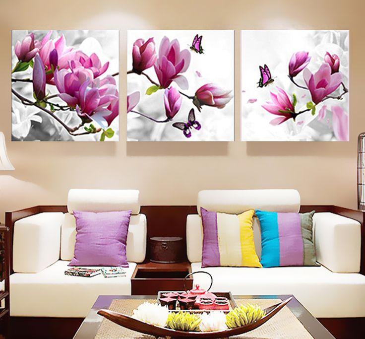 3 pcs Imprimer affiche Mur de toile Art rose orchidées Décoration art peinture à l'huile Modulaire photos sur le mur salon (pas de cadre)