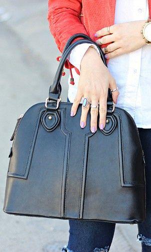 Polished structured satchel bag