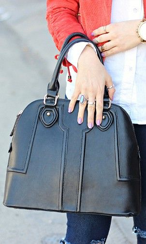 Polished structured satchel bag