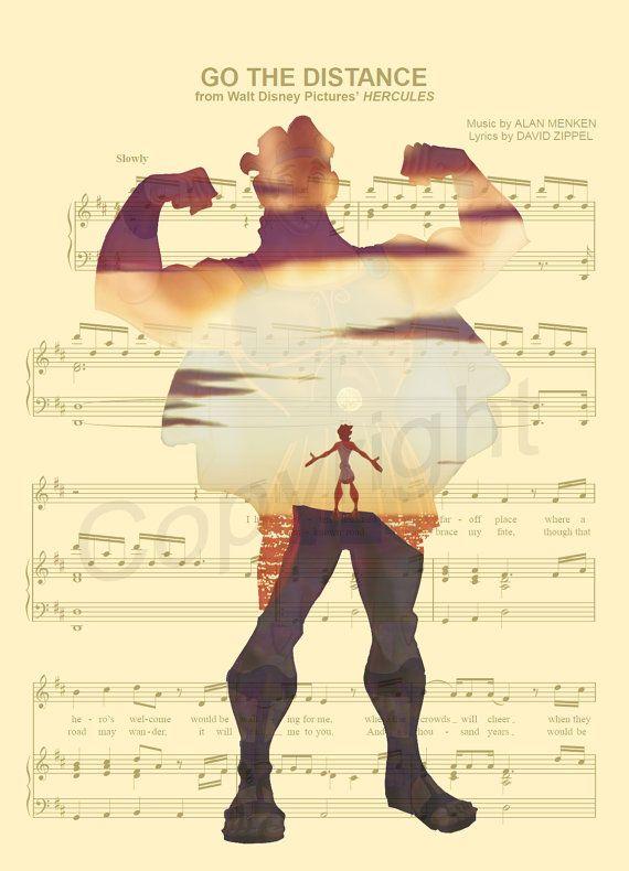 Impression d'Art Hercules musique feuille par AmourPrints sur Etsy
