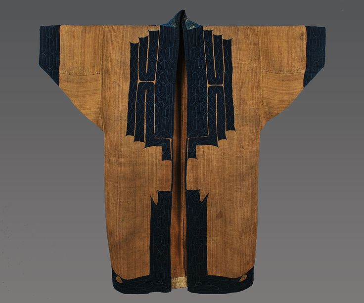 Mans robe, Ainu people, Hokkaido, Japan, 19th century. Attush (inner bark from an elm tree) with cotton applique and embroidery, 51 (w) x 49 (h). Joe Loux at MATA New York