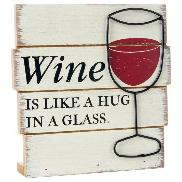 Hug in a Glass Rustic Wood Sign