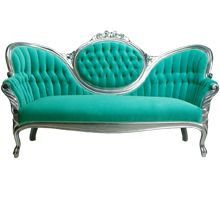 Vintage Victorian Sofa and Chairs - Refurbished and Reupholstered in Teal and Silver or Custom Finish by calicocushion. Explore more products on http://calicocushion.etsy.com