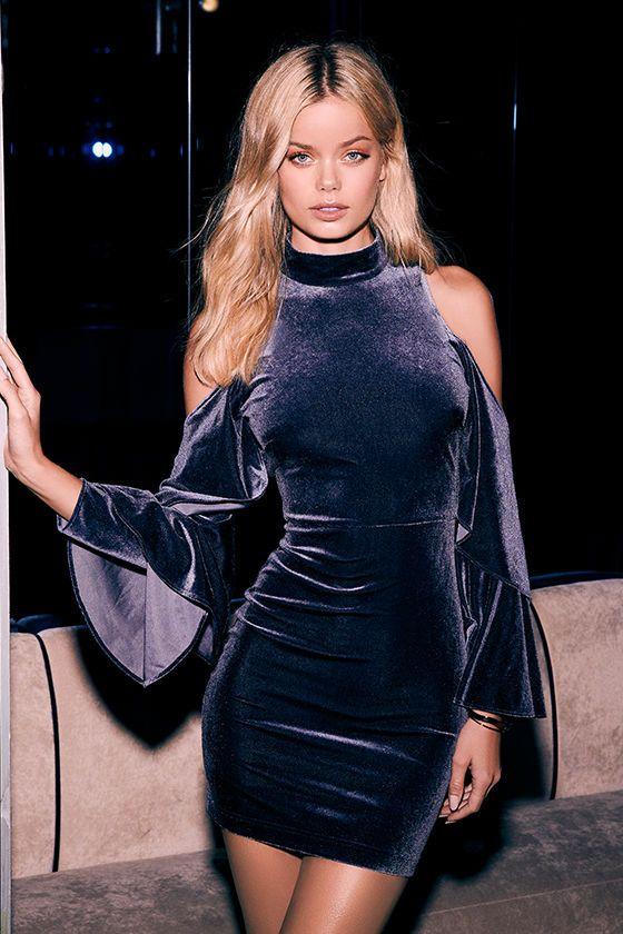Sexy Slate Blue Dress - Velvet Cold Shoulder Dress - Bell Sleeve Dress - $54.00