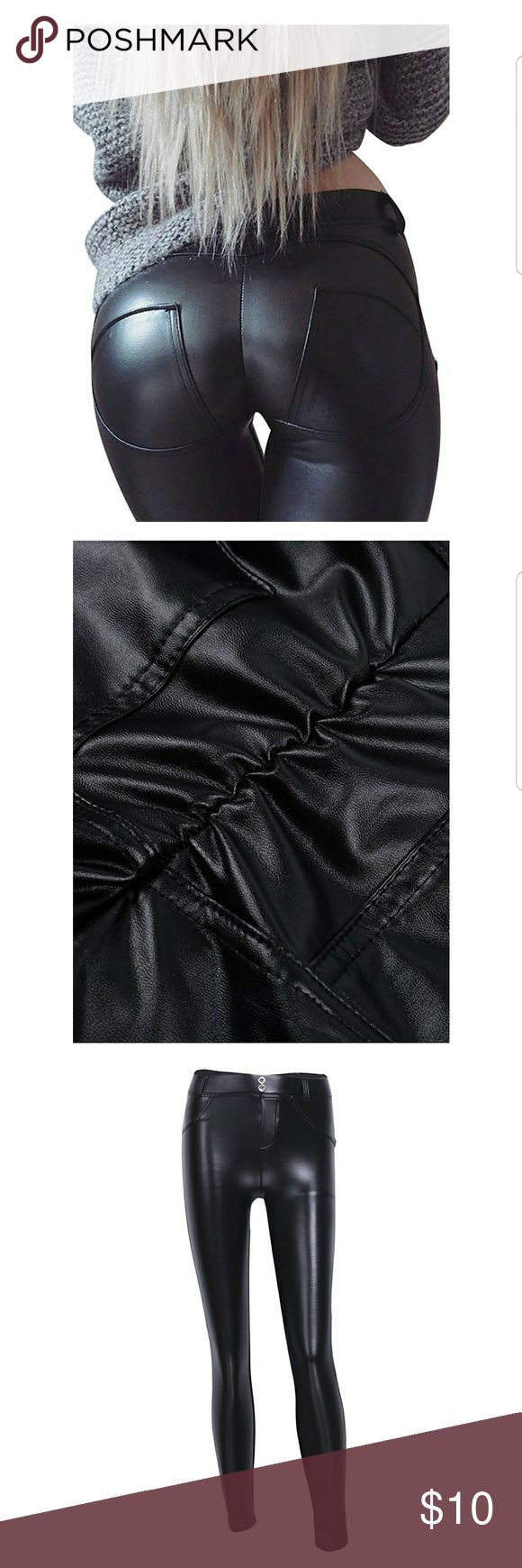 """NWOT SEXY PU leather elastic skinny push up pants Size 4/6 runs small  Waist 26-27.2"""" Hip 35.4-37"""" Front crotch 9.8"""" Back crotch 11-14.2"""" Length 37"""" Medium thickness Soft & comfortable Stretchy material Back of hip has elasticity to show off curves Easy match with sweater & all tops & suitable for any occasion. Cold hand wash and hang to air dry. Do not bleach/iron or put in machine dryer. Pants Skinny"""