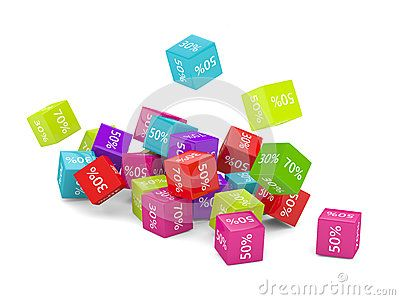 3D rendering of falling cubes with discount sign over white