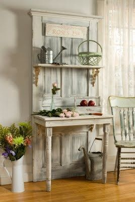 Upcycling Ideas For The Home | Shelf and table - great little workspace in the kitchen