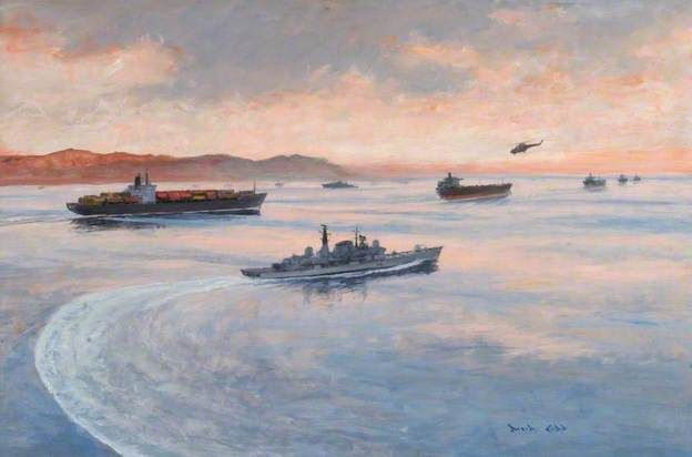 HMS Gloucester on the Armilla Patrol Escorting a Convoy of Container Ships through the Strait of Hormuz.